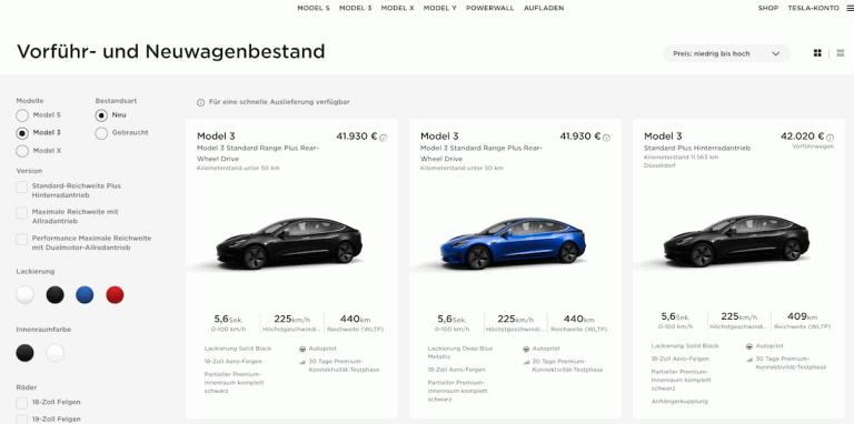 Übersicht der Tesla Model 3 Bestandsfahrzeuge mit einem 1.500 Kilometer Referral Code