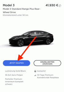 Hinweis dass das Tesla Referral Guthaben erst aktiviert wird, wenn auf JETZT KAUFEN geklickt wird
