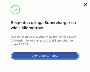 Obraz strony głównej Tesla wskazujący, że Tesla Referral Code został zaakceptowany.